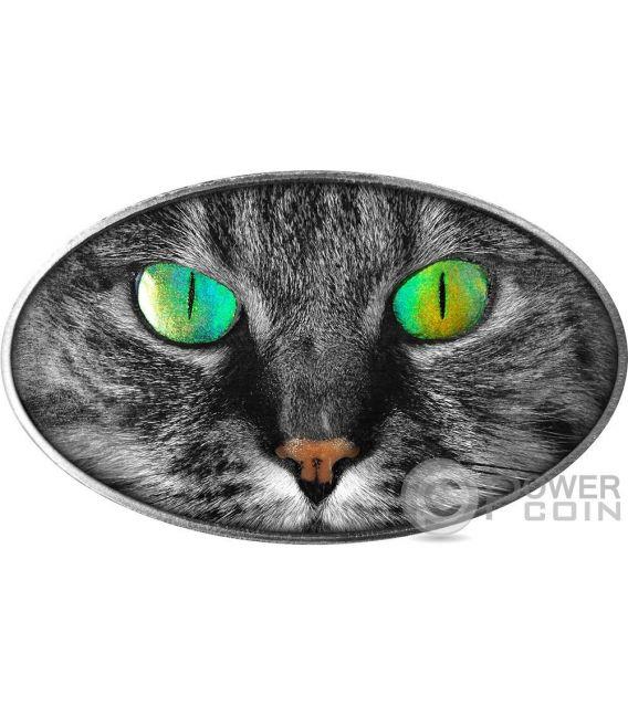 KITTY CAT Gato Animal Skin 1 Oz Moneta Plata 2$ Niue 2017