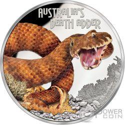DEATH ADDER Vipera della Morte Australia Deadly Dangerous Moneta Argento 1$ Tuvalu 2016