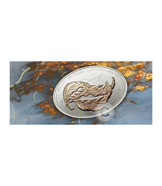 AUTUMN LEAVES Sandro Del Prete Illusion Silver Coin 5$ Palau 2008