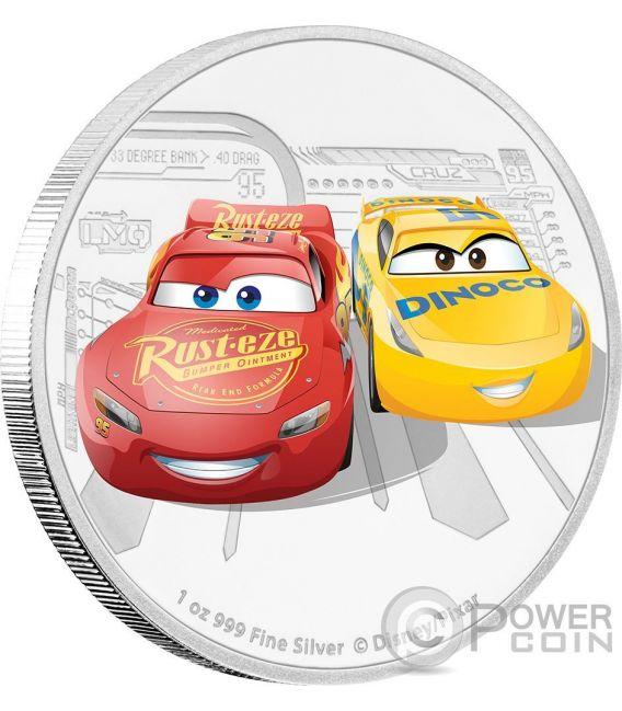 LIGHTNING MCQUEEN CRUZ RAMIREZ Cars 3 Disney 1 Oz Серебро Монета 2$ Ниуэ 2017