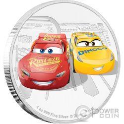 LIGHTNING MCQUEEN CRUZ RAMIREZ Saetta Cars 3 Disney 1 Oz Moneta Argento 2$ Niue 2017
