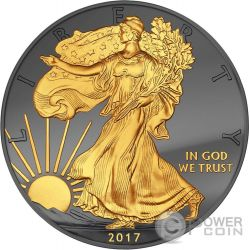 WALKING LIBERTY Golden Enigma 1 Oz Moneta Argento 1$ Dollar US Mint 2017