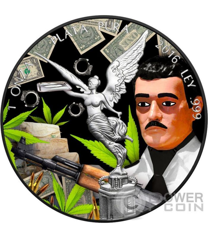 Jesus Malverde Liberty Black Ruthenium 1 Oz Silver Coin