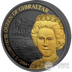 QUEEN OF GIBRALTAR Regina Gibilterra Golden Enigma 1 Oz Moneta Argento 15£ Pounds United Kingdom 2014