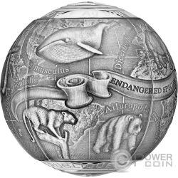ENDANGERED ANIMALS SOS To The World Spherical 7 Oz Silver Coin 5000 Francs Cameroon 2017