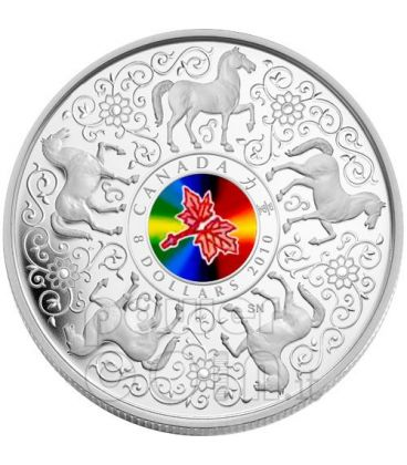 MAPLE OF STRENGTH Leaf Silver Coin Hologram 8$ Canada 2010