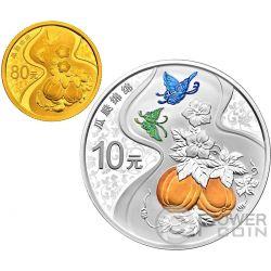 GUA DIE MIAN MIAN Auspicious Culture Set 1 Moneta Argento 10 Yuan 1 Oro 80 Yuan China 2017
