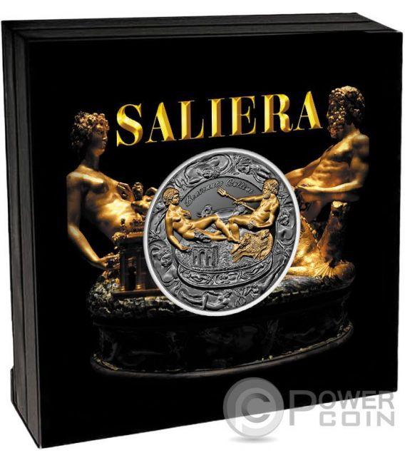 SALIERA Salt Cellar Benvenuto Cellini 2 Oz Silver Coin 2000 Francs Cameroon 2017