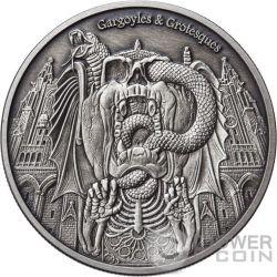 DECAY Gargoyles and Grotesques Acabado Antiguo 1 Oz Moneda Plata 1000 Francos Chad 2017