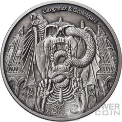 DECAY Gargoyles and Grotesques Antique Finish 1 Oz Silver Coin 1000 Francs Chad 2017