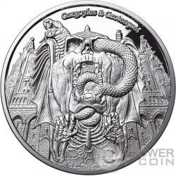DECAY Gargoyles and Grotesques Proof 1 Oz Moneda Plata 1000 Francos Chad 2017