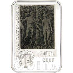 DURER ALBRECHT Серебро Монета Engraving Adam And Eve 10D Андора 2010