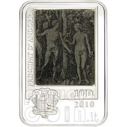 DURER ALBRECHT Silber Münze Engraving Adam And Eve 10D Andorra 2010
