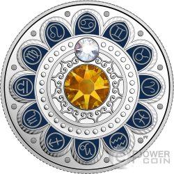 CANCER Zodiac Swarovski Crystal Silver Coin 3$ Canada 2017