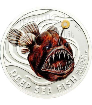 MELANOCETO Pesce Degli Abissi Moneta Argento 2$ Pitcairn Islands 2010