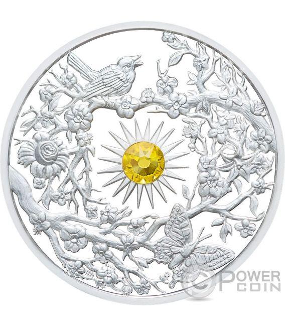 SPRING Primavera Crystal Four Seasons 2 Oz Moneda Plata 5$ Niue 2017