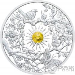 SPRING Crystal Four Seasons 2 Oz Серебро Монета 5$ Ниуэ 2017