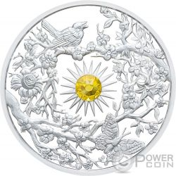 SPRING Primavera Crystal Four Seasons 2 Oz Silver Coin 5$ Niue 2017