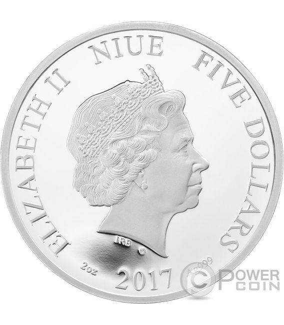 SPRING Primavera Crystal Four Seasons 2 Oz Silver Coin 5$ Niue 2017