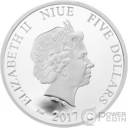 SPRING Primavera Crystal Four Seasons 2 Oz Moneda Plata 5$ Niue 2017