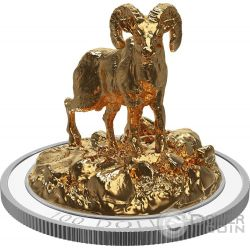 BIGHORN SHEEP Pecora Sculpture Of Majestic Animals 3D Moneta Argento 100$ Canada 2017