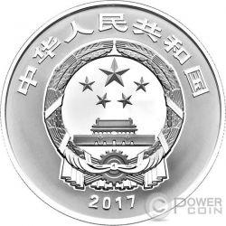 WU FU GONG SHOU Auspicious Culture Moneta Argento 10 Yuan China 2017