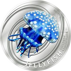 JELLYFISH Australian White Spotted Silber Münze 2$ Pitcairn Islands 2010