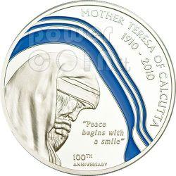 MOTHER TERESA 100th Anniversary Silver Coin 2$ Palau 2010
