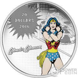 AMAZING AMAZON Wonder Woman DC Comics Originals 1 Oz Moneta Argento 20$ Canada 2016
