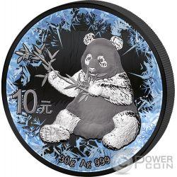 PANDA Deep Frozen Edition Rutenio Moneda Plata 10 Yuan China 2017