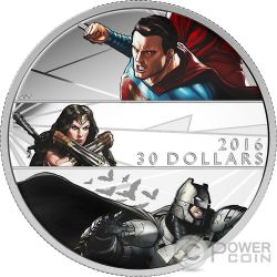 BATMAN V SUPERMAN DAWN OF JUSTICE Amanecer Justicia 2 Oz Moneda Plata 30$ Canada 2016
