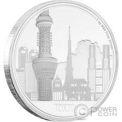 TOKYO Great Cities 1 Oz Moneta Argento 2$ Niue 2017