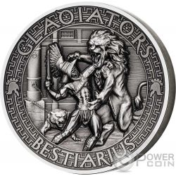 BESTIARIUS Gladiators 2 Oz Silver Coin 5$ Solomon Islands 2017