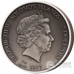 BESTIARIUS Gladiators 2 Oz Silver Coin 5$ Solomon Islands 2017