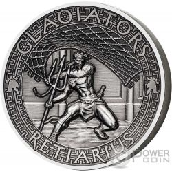 RETIARIUS Gladiators 2 Oz Silver Coin 5$ Solomon Islands 2017