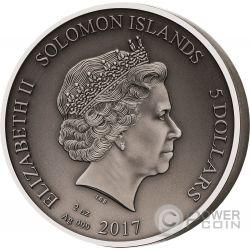 RETIARIUS Gladiators 2 Oz Silver Coin 5$ Solomon Islands 2017