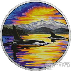 ORCAS Animals In The Moonlight Glow In The Dark 2 Oz Moneda Plata 30$ Canada 2017