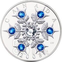 SNOWFLAKE ZAFFIRO Sapphire Moneta Argento Swarovski 20$ Canada 2008