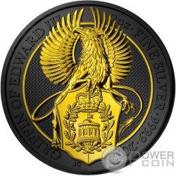 QUEEN GOLD GRIFFIN Rutenio 2 Oz Moneda Plata 5£ United Kingdom 2017