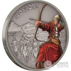 MONGOLS Mongoles Warriors of History 1 Oz Moneda Plata 2$ Niue 2017