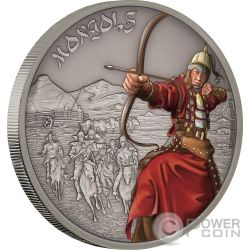 MONGOLS Mongoli Warriors of History 1 Oz Moneta Argento 2$ Niue 2017