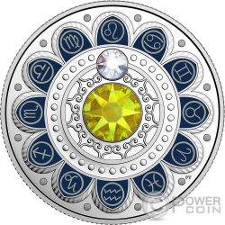 LEO Zodiac Swarovski Crystal Silver Coin 3$ Canada 2017