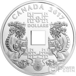 FENG SHUI GOOD LUCK CHARMS Moneda Plata 8$ Canada 2017