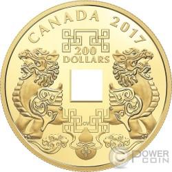 FENG SHUI GOOD LUCK CHARMS Moneda Oro 200$ Canada 2017