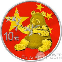 CHINESE FLAG Bandiera Cinese Panda Moneta Argento 10 Yuan China 2017