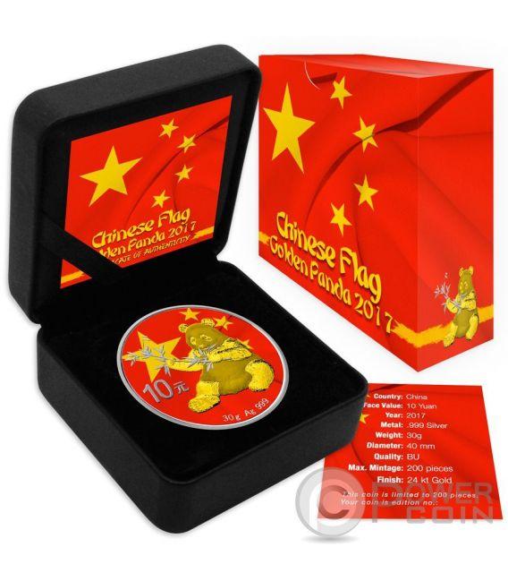 Chinese Flag Panda Silver Coin 10 Yuan China 2017 Power Coin