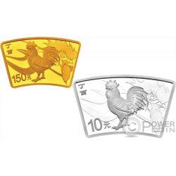 LUNAR ROOSTER Fan Set Moneda Plata 10 Yuan Oro 150 Yuan China 2017