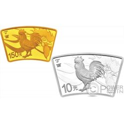 LUNAR ROOSTER Fan Set Silver Coin 10 Yuan Gold 150 Yuan China 2017
