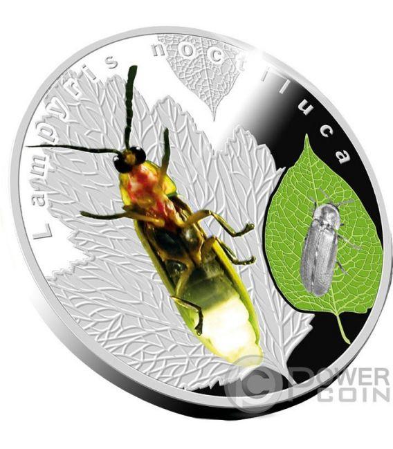 LAMPYRIS NOCTILUCA Glühwürmchen Bioluminescent Animals Silber Münze 1$ Niue 2017