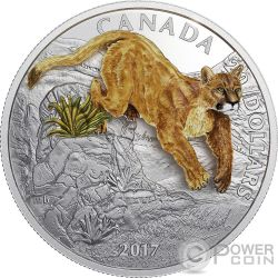 LEAPING COUGAR Puma Three Dimensional 3D 1 Oz Moneda Plata 20$ Canada 2017